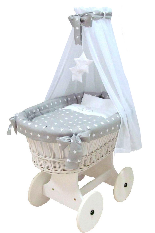 Luxusní košík pro miminko v plné výbavě na velkých kolech - hvězdičky na šedé