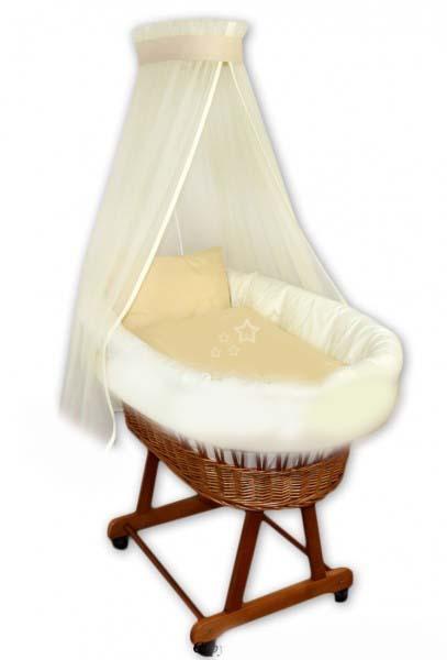 Proutěný košík na miminko - Hvězdy na béžové