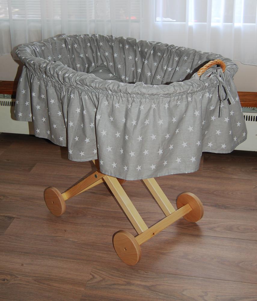 Alla Proutěný koš na miminko - hvězdička na šedé