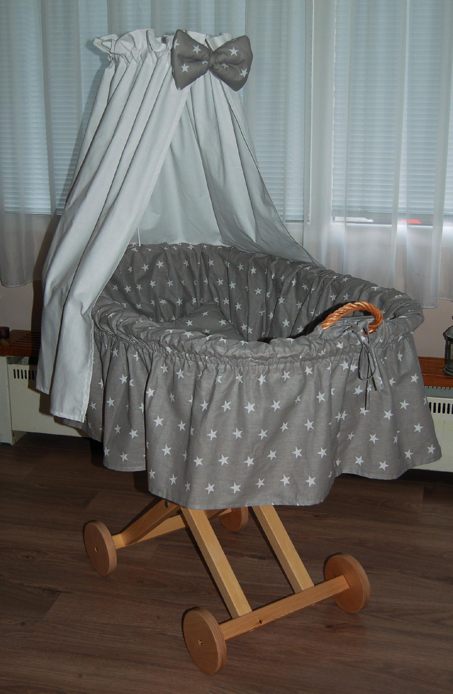 Košík na miminko bílá hvězdička na šedé
