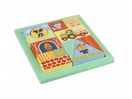 Dřevěné puzzle, Zvířátka z farmy, 14 kspuzzle