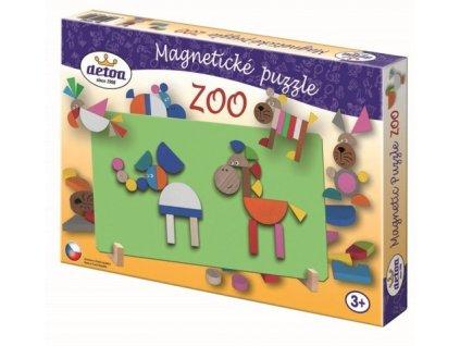 Detoa dřevěné magnetické puzzle zoo