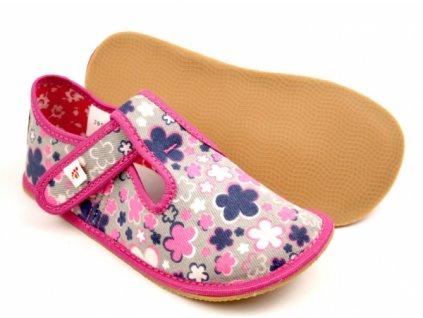 Barefoot bačkory Ef 395 Kwiaty Fluo