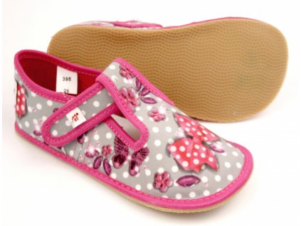 Barefoot bačkory Ef 395 šedá Butterfly
