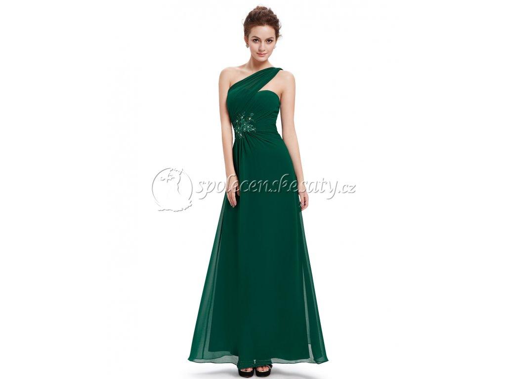 Zelené luxusní společenské plesové šaty na jedno rameno vel. 42 M L185 aec1b4fa4d