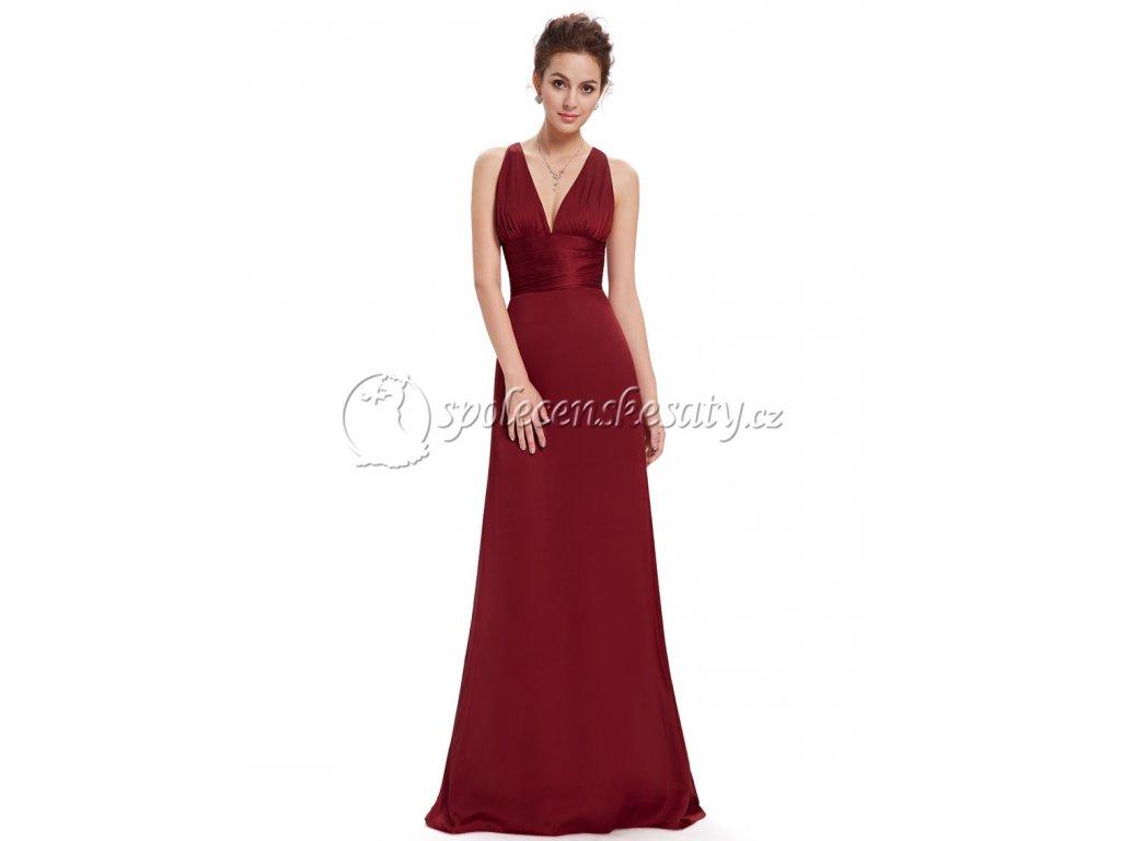 c7e6a941e45 Červené vínové dlouhé společenské šaty s křížením vzadu a vlečkou ...