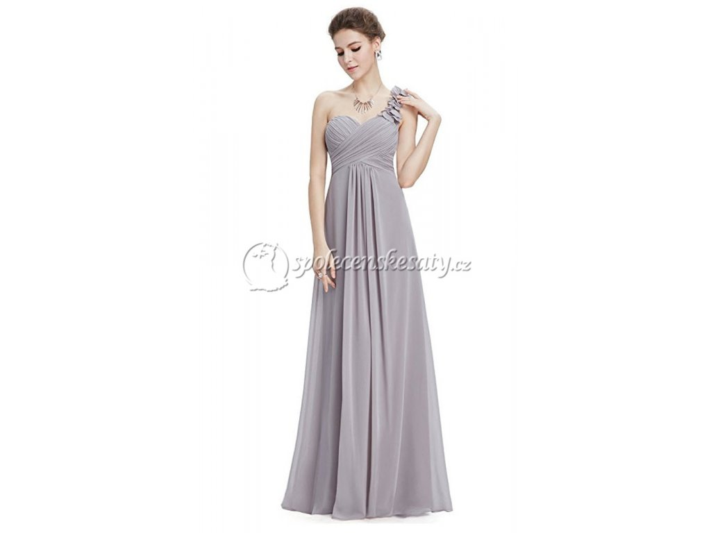 c18fe9f0a11a Šedé stříbrné společenské šaty ne jedno rameno pro těhotné vel. 44 L ...