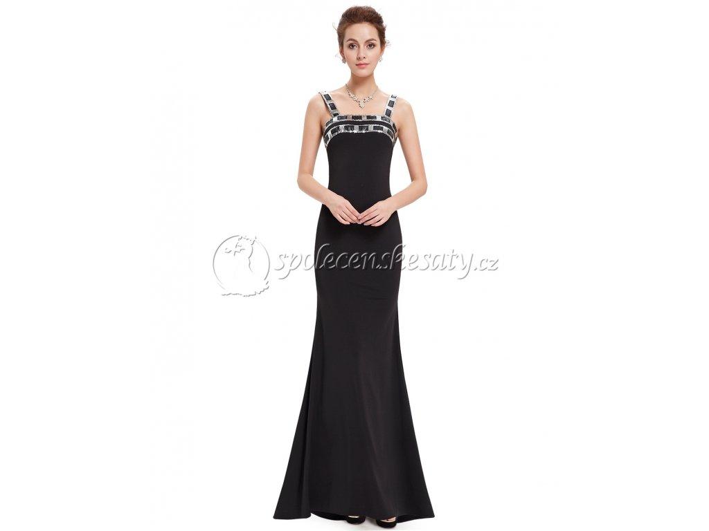 Černé dlouhé společenské šaty s geometrickými flitry vel 44 L203 ... ff0f53e46e