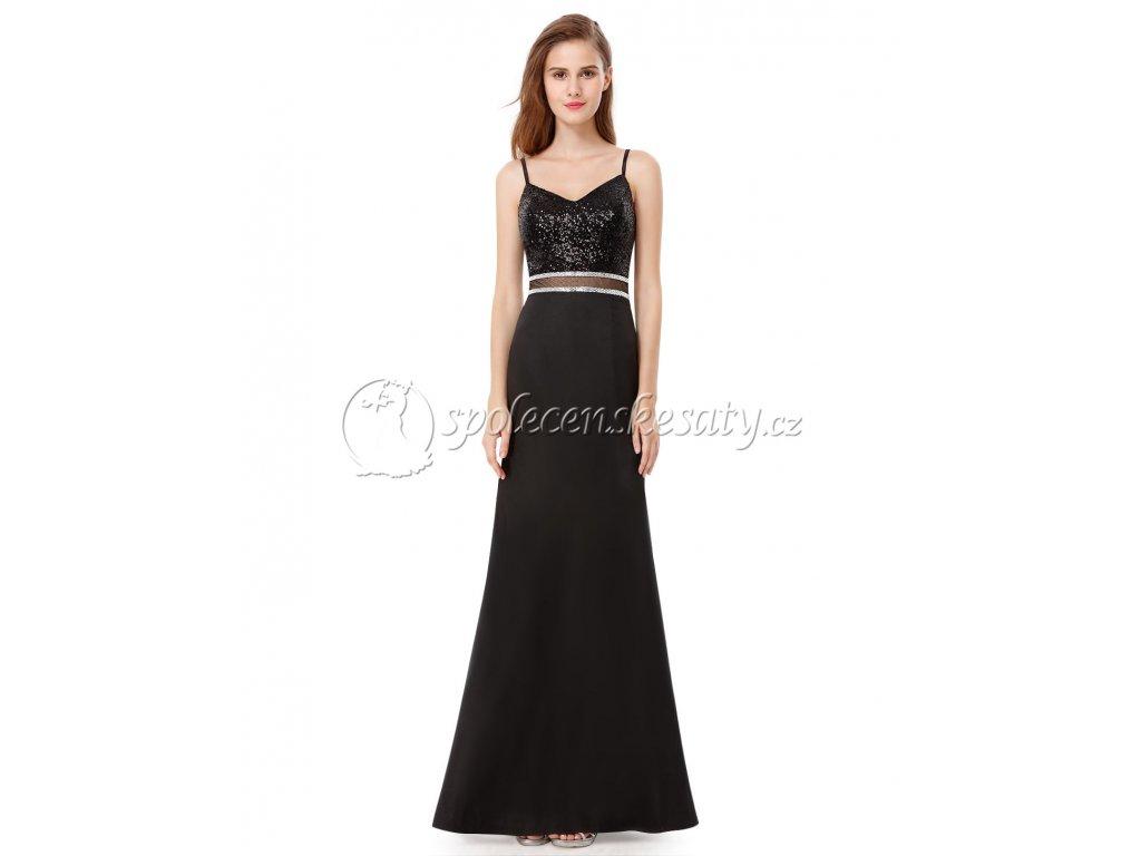 Černé dlouhé společenské šaty na ples s flitry a posuvnými ramínky ... 4b75483e2d