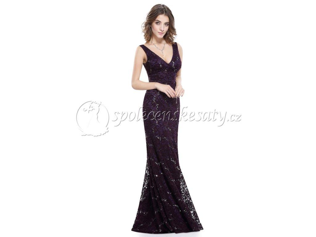 Fialové dlouhé krajkové společenské šaty s flitry na svatbu ples vel ... eff892f2a3a
