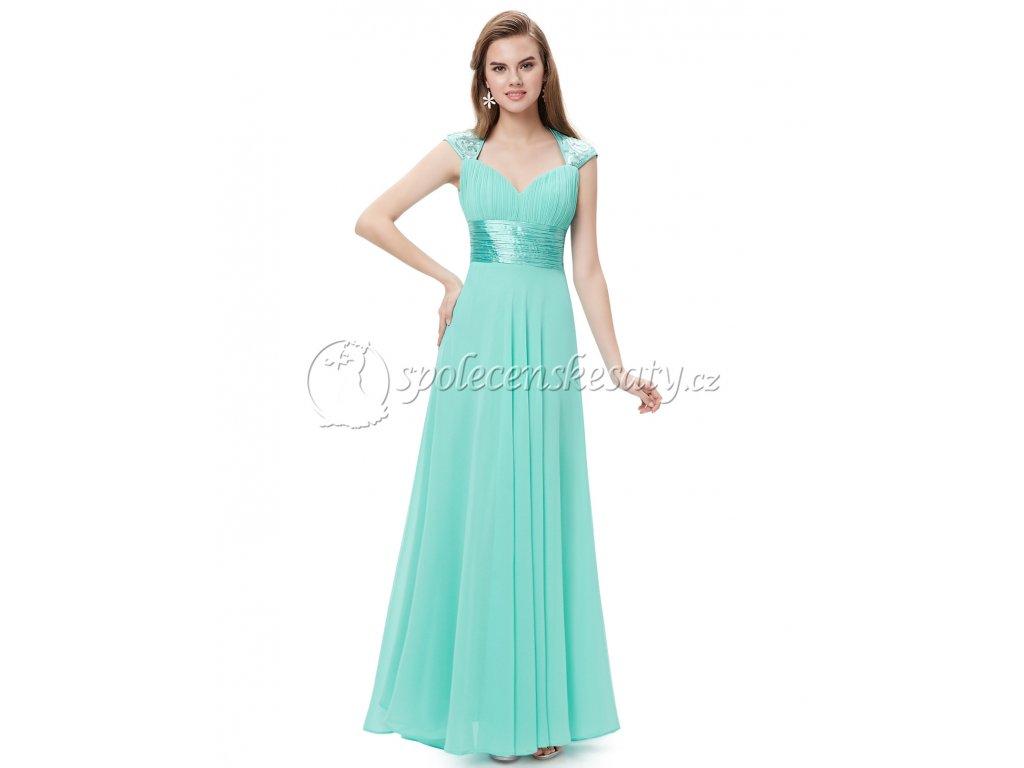... Tyrkysové dlouhé společenské šaty s výstřihem na zádech L224 2 ... 491e053b576