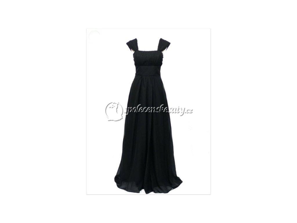 Černé dlouhé společenské šaty se šněrovačkou pro těhotné plnoštíhlé na ples  38-44 1690670e6ac