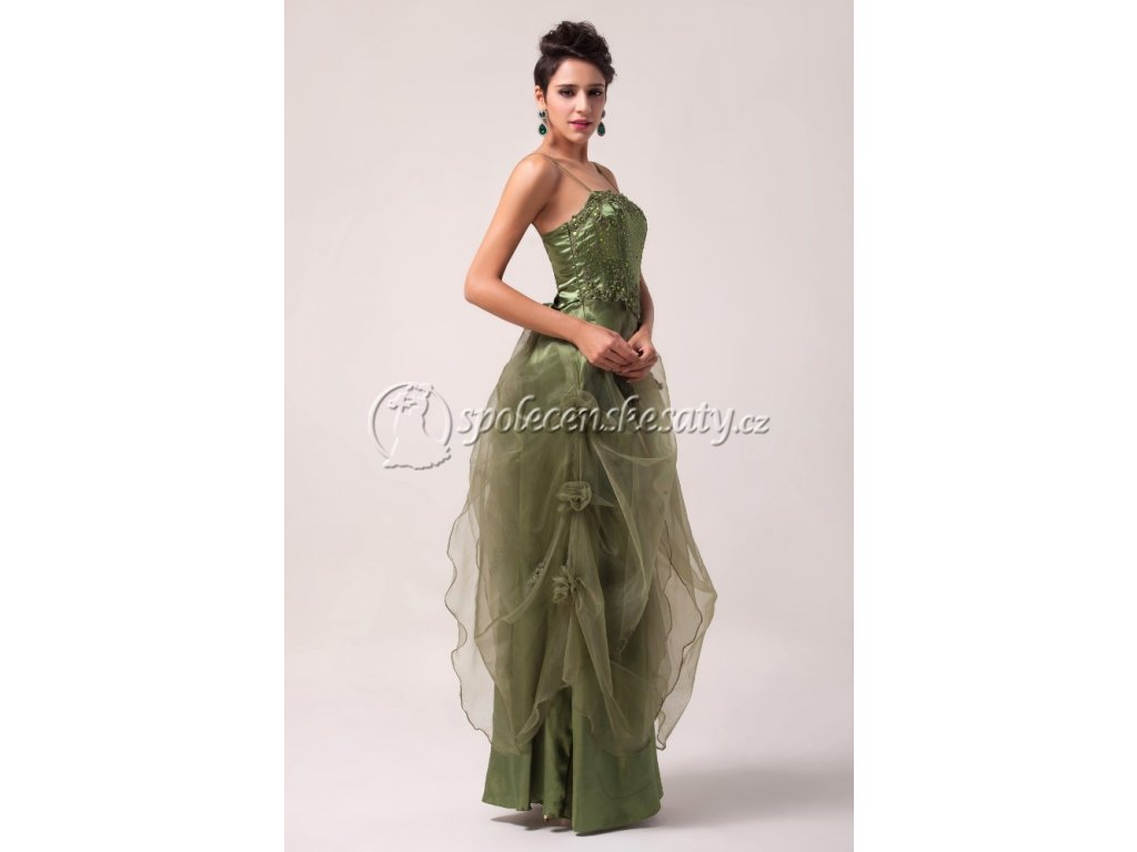 c02d0b84ce87 Zelenkavé společenské šaty pro baculky na ples i na svatbu 50-52 ...