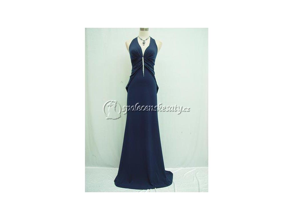 Tmavě modré dlouhé sexy elastické plesové večerní šaty s ozdobou 46 ... ec1cd1a817
