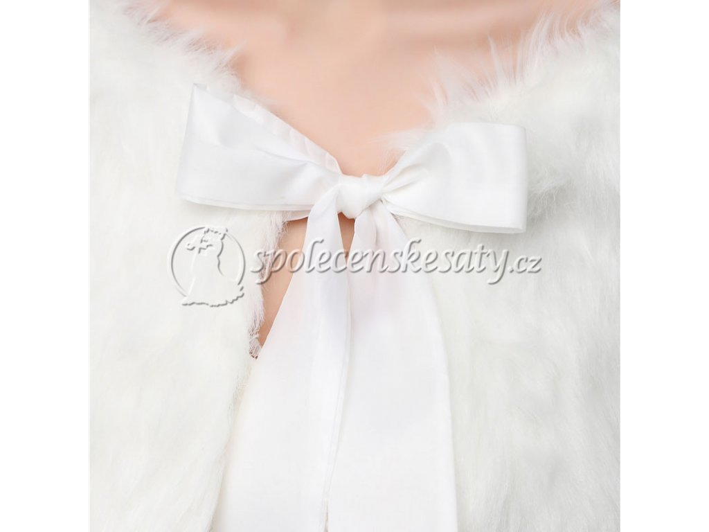 Bílé bolerko pelerína přehoz přes ramena pro společenské svatební ... 51115efa34