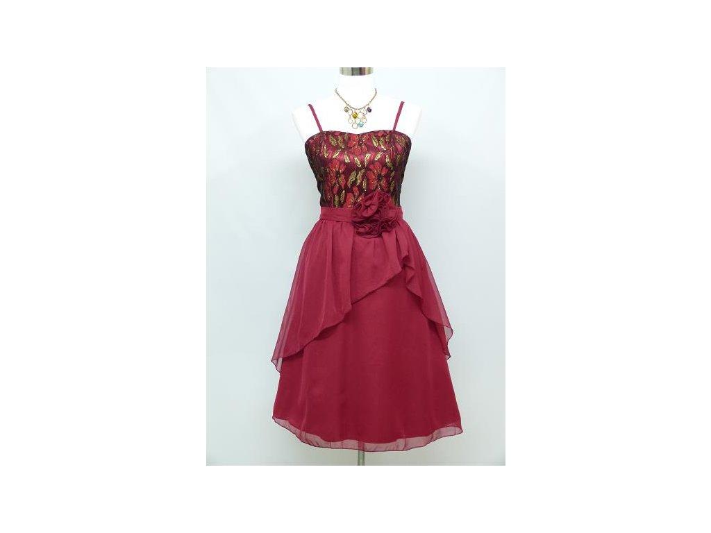 16ebaf755c91 Červené krátké společenské šaty koktejlky s kytkou do tanečních 46 ...