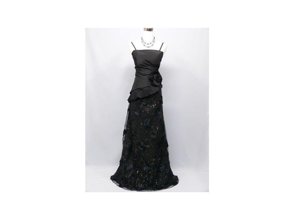 9aeb649c04cf Černé dlouhé společenské šaty asymetrické s krajkou zavinovací na ples