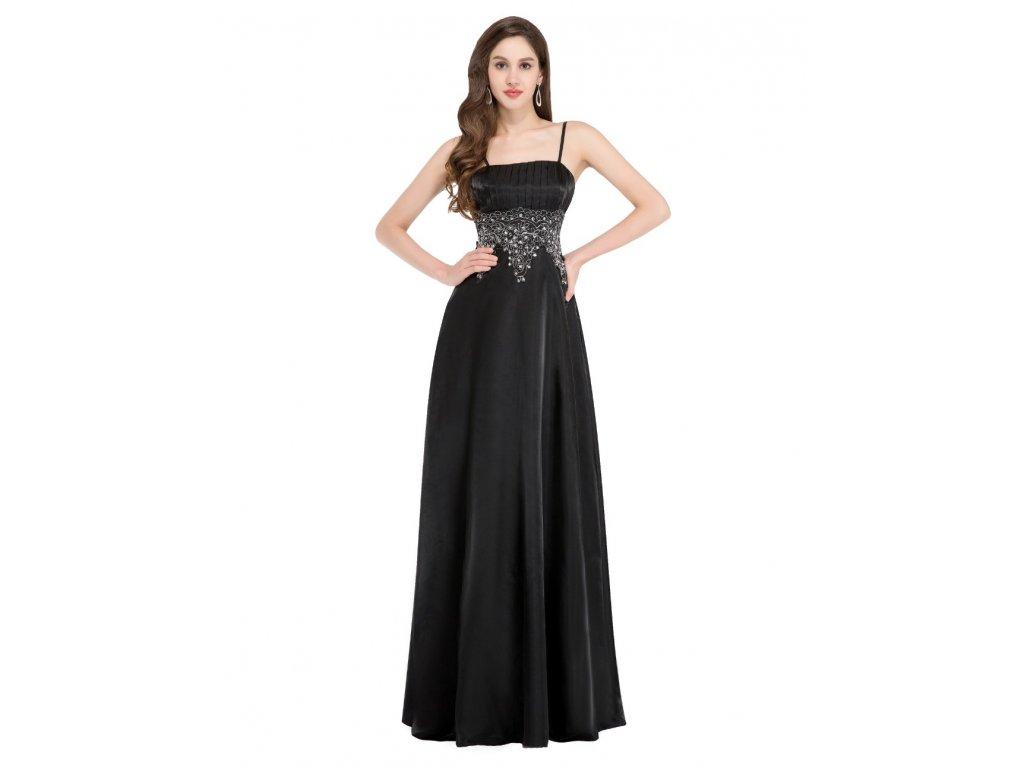 Černé společenské šaty se stříbrnou krajkou na ples pro plnoštíhlé ... d1a951d832
