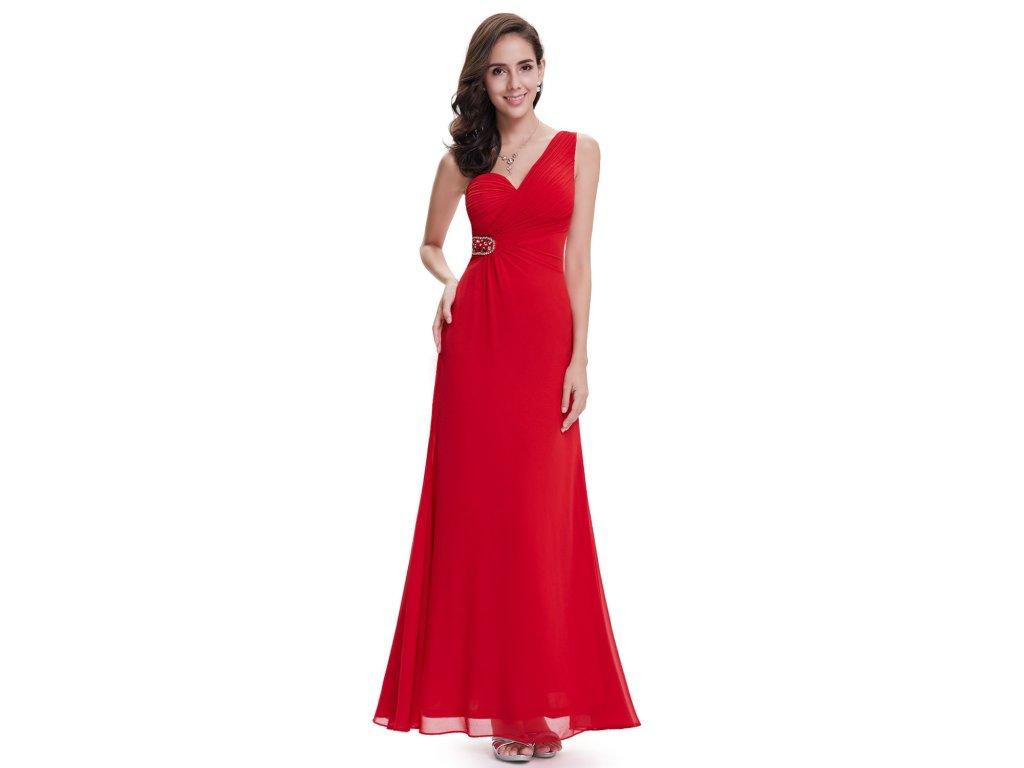 Červené dlouhé společenské šaty na jedno rameno na ples 50 - www ... e0671194f4