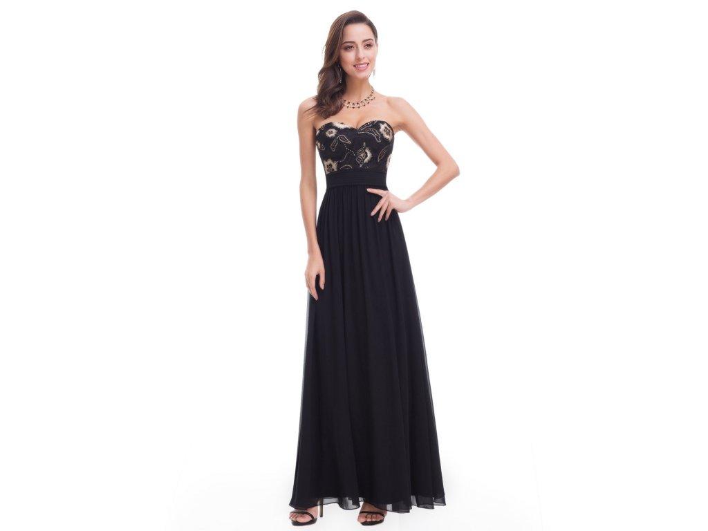 Černé dlouhé levné plesové šaty s výšivkou bez ramínek 48 - www ... 327e1c7890