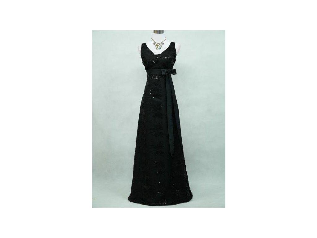 Černé dlouhé společenské šaty pošité krajkou širokými ramínky na ples 2240cfe350
