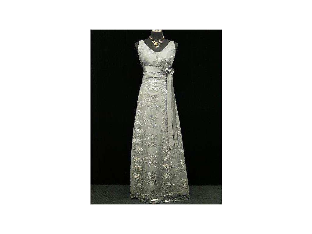 092f0e7df96b Šedé stříbrné společenské šaty pro plnoštíhlou elegantní dámu na ...