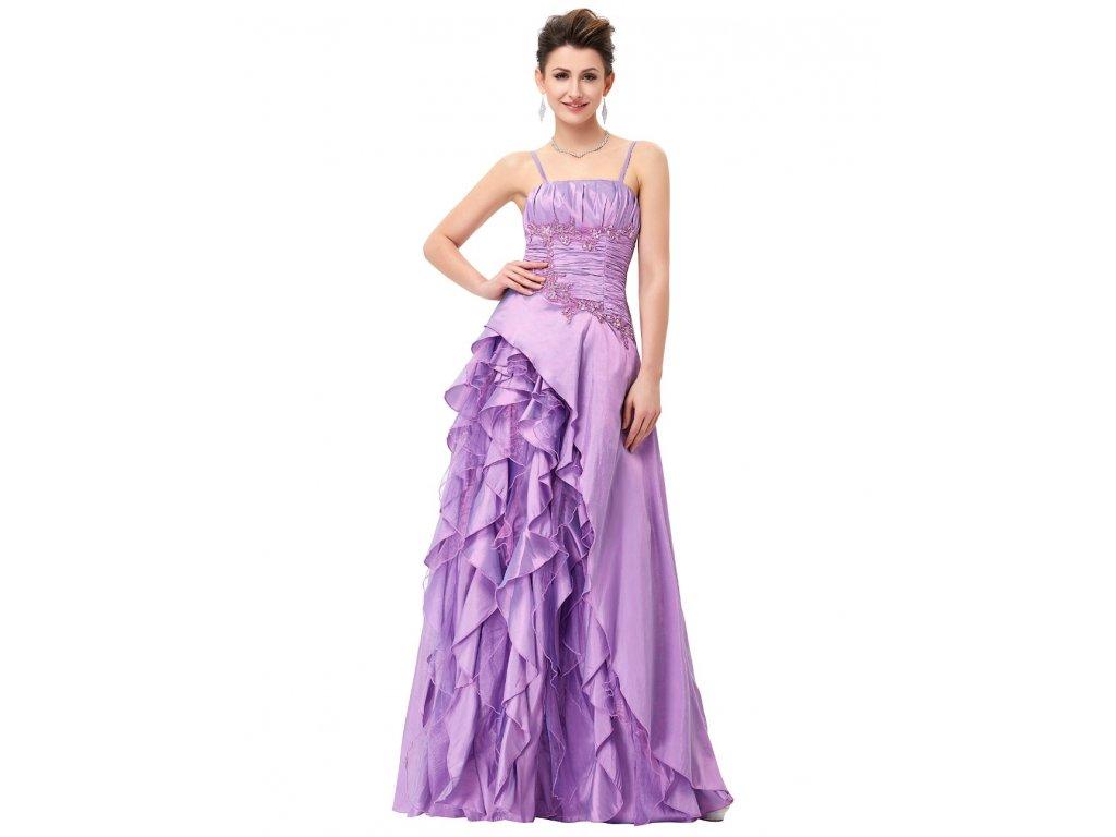 55ab17a96524 Fialkové dlouhé romantické šaty na ples pro plnoštíhlé baculky 52-56 ...