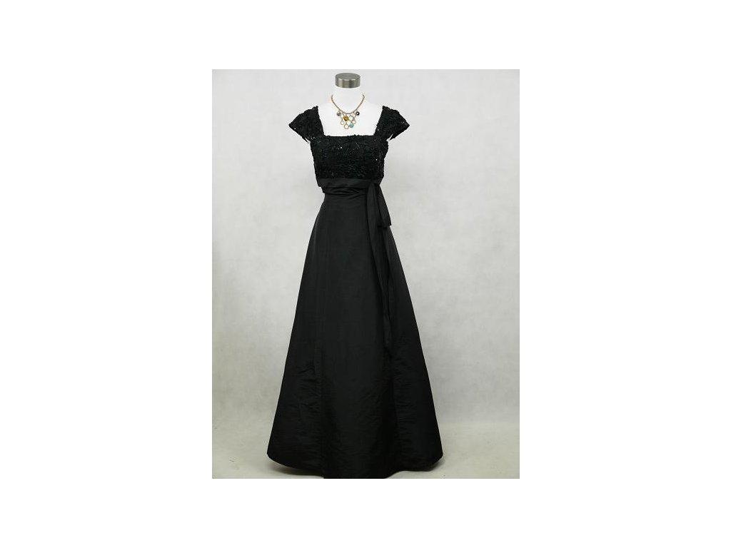 Černé dlouhé společenské šaty pro plnoštíhlé baculky s rukávkem 48 ... de0ceb44af