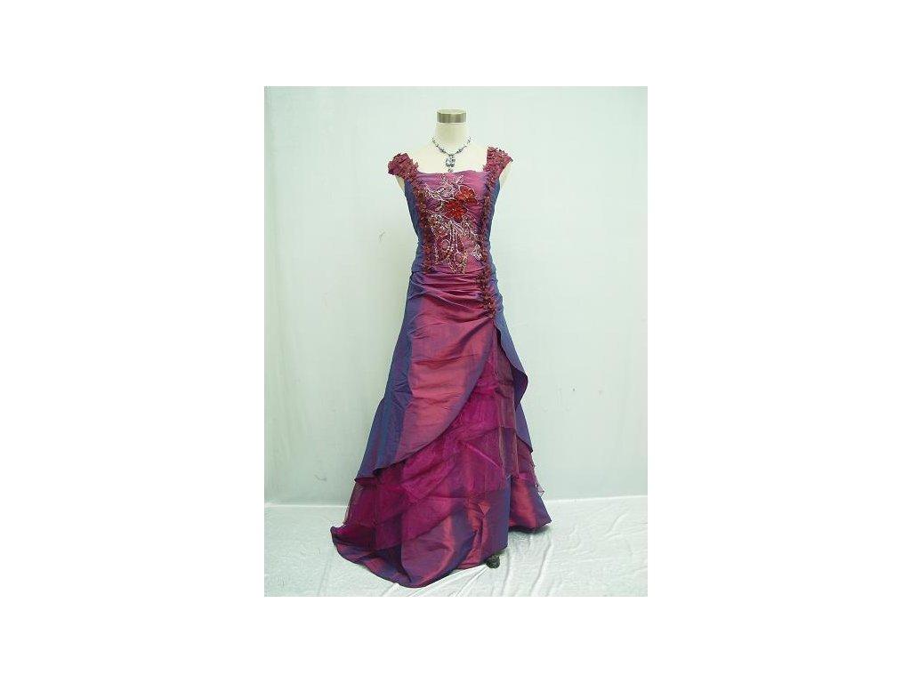 7ebce1a8ee5 Fialové růžové společenské šaty na ples na svatbu s vyšívaným korzetem a  širokými ramínky