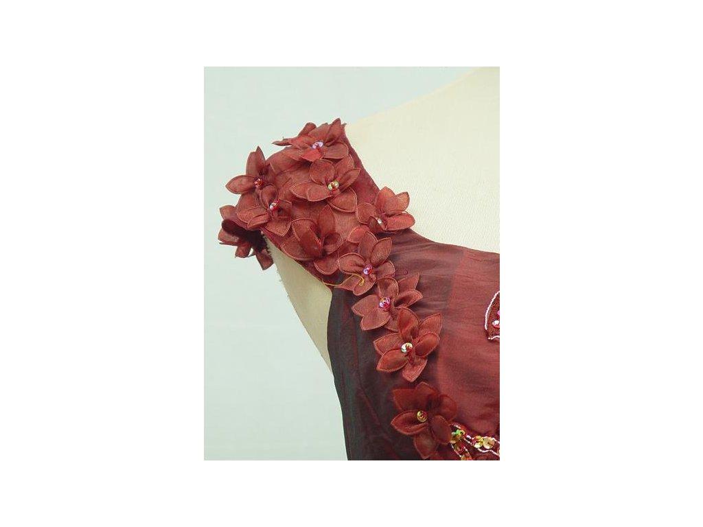 ... Červené bordó vínové společenské šaty pro plnoštíhlé s vyšívaným  korzertem a kytičky 2 ... 9bcb4385a7