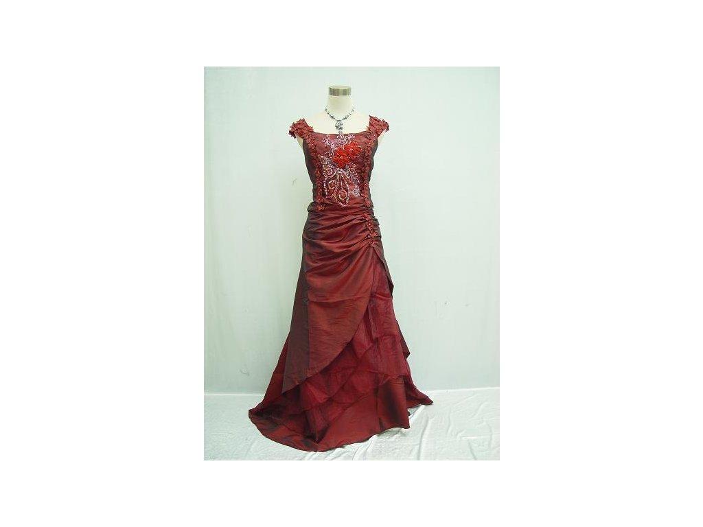 Červené bordó vínové společenské šaty pro plnoštíhlé s vyšívaným korzertem  a kytičky 2ccec7b2bd