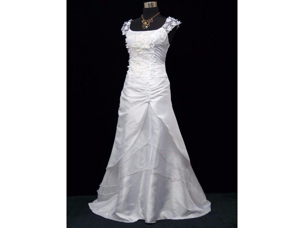 5372d76bb9e ... Bílé dlouhé svatební šaty na hrubší ramínka a vyšívaným topem 4 ...