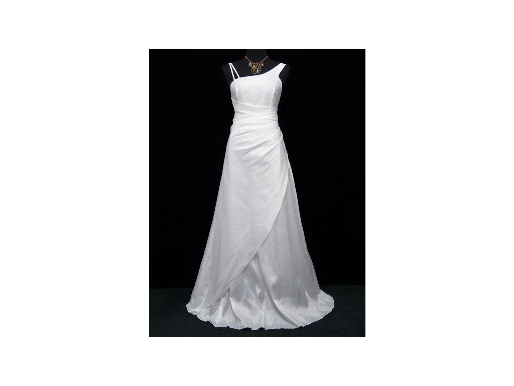 51d43223dcc Bílé dlouhé svatební společenské šaty zavinovací asymetrické pro ...