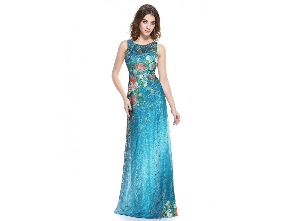 Tyrkysové barevné květinové dlouhé společenské šaty z krajky 42-44 ... 868e2c94aad