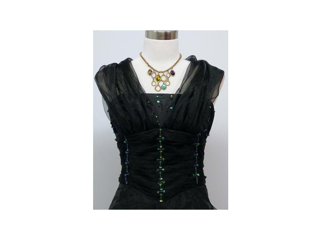 ... Černé dlouhé levné společenské šaty z organzy na ples na svatbu do  tanečních 2 ... 8cfbff05f4