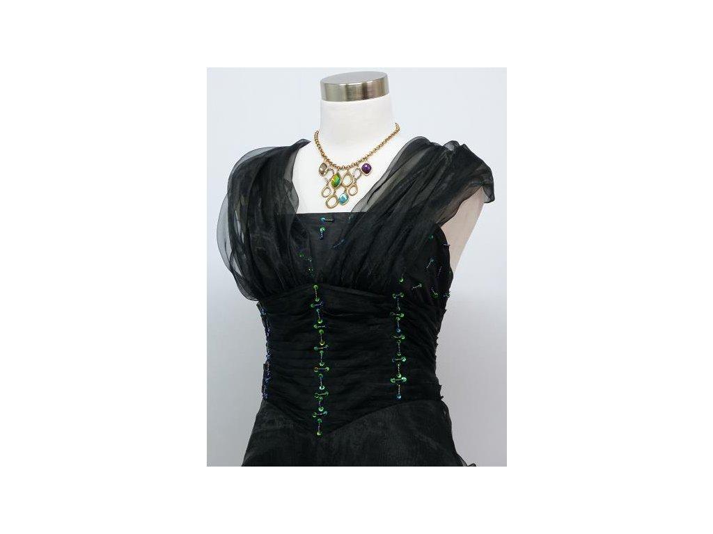 ... Černé dlouhé levné společenské šaty z organzy na ples na svatbu do  tanečních 3 ... ab744a9627