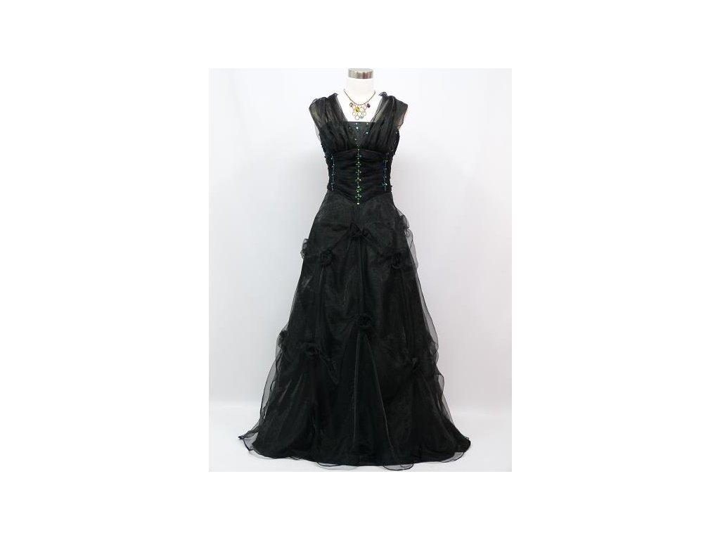 bdb23de7ba0 Černé dlouhé levné společenské šaty z organzy na ples na svatbu do tanečních