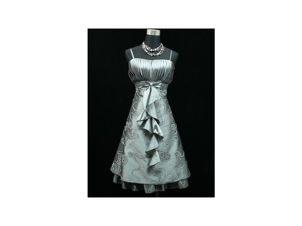 Šedé stríbrné krátké společenské šaty po kolena koktejlky vyšívané s  kanýrem pro plnoštíhlé 20278f9c47