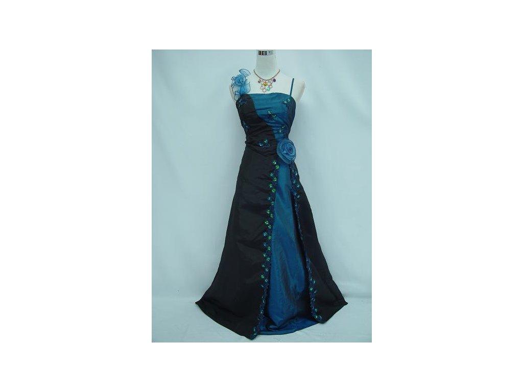 Černé modré dlouhé společenské plesové luxusní šaty pro plnoštíhlé s růží a  krajkou 50-56 ce9fb658da