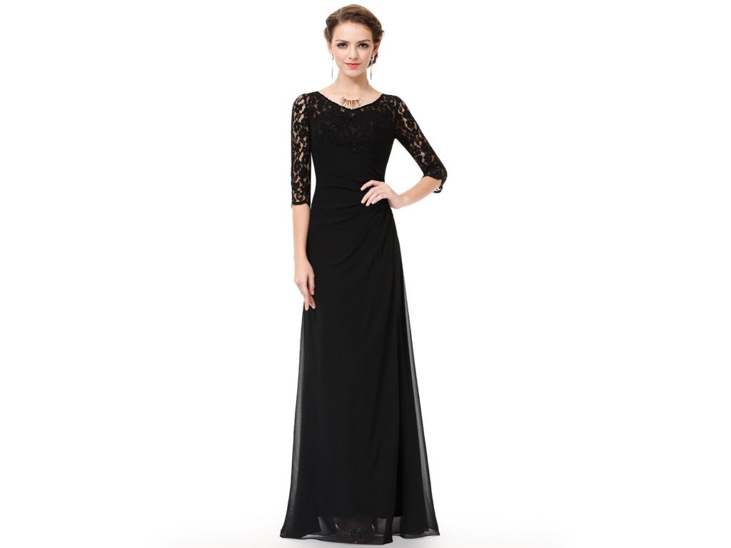 Černé dlouhé společenské šaty s krajkovým vrchem a rukávem 40-42 ... 26b472177bc
