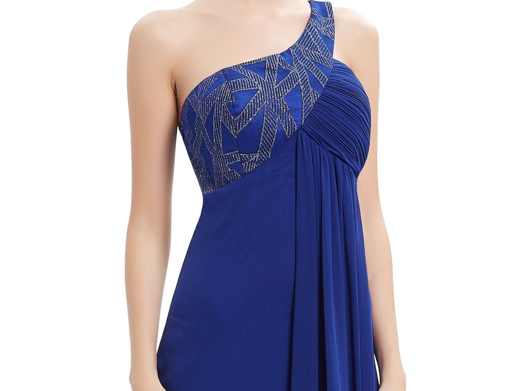 c90955c76cd ... Modré dlouhé luxusní plesové večerní šaty na jedno rameno těhotenské 4  ...