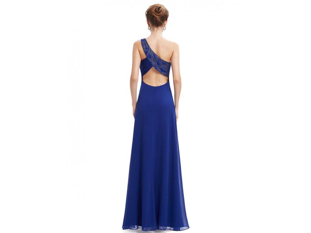 ... Modré dlouhé luxusní plesové večerní šaty na jedno rameno těhotenské 1 3e0bcea9660