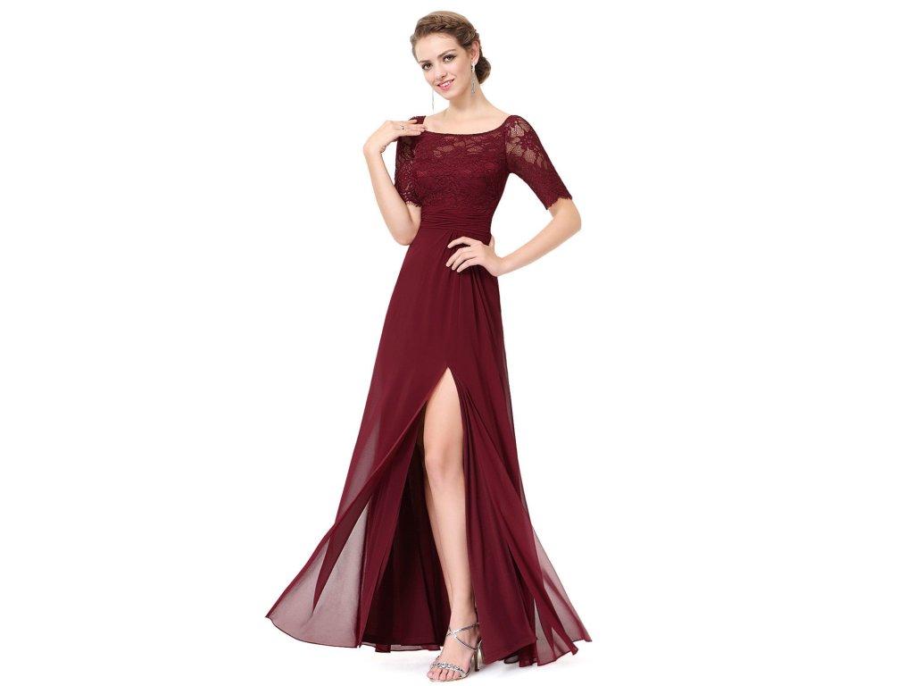 Červené vínové dlouhé společenské šaty s krajkovým rukávem a rozparkem 46 535b91152a