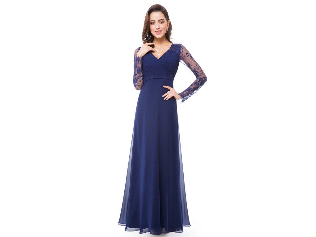 04b08f1397f Modré dlouhé společenské šaty s krajkovým dlouhým rukávem 38-40 ...