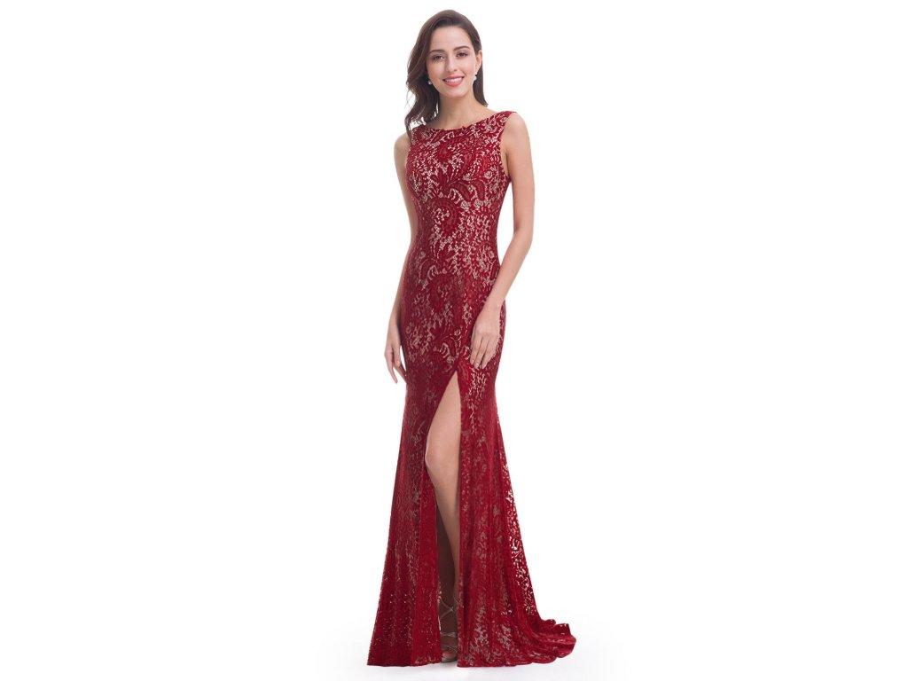 Červené vínové dlouhé společenské krajkové šaty na ples s vlečkou 44 ... f6ec15a313