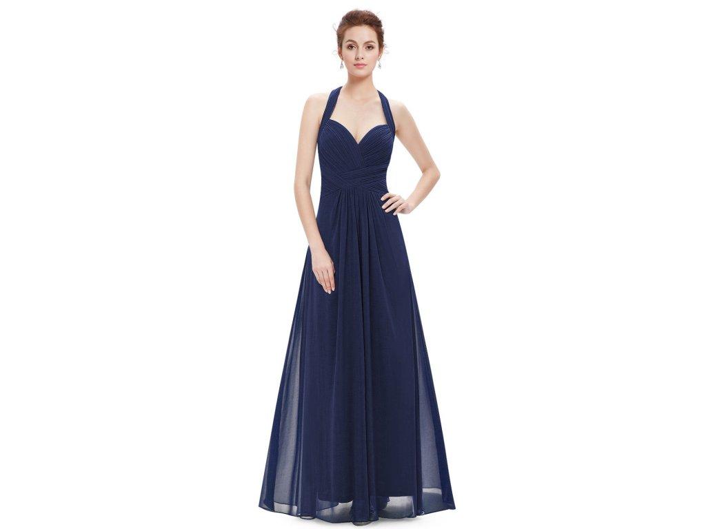 c37e218a610 Modré tmavé dlouhé společenské šaty vhodné i pro těhotné za krk 50 ...