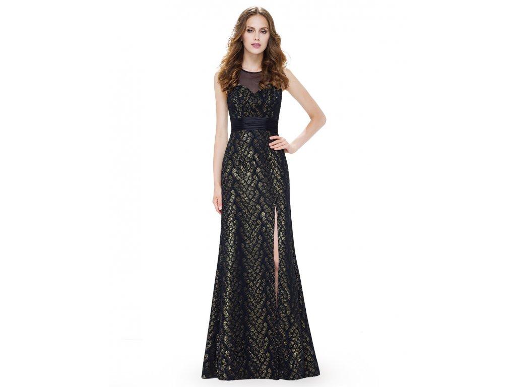 5517b1f305db Černé zlaté luxusní dlouhé společenské šaty s rozparkem a stuhou na ples 2