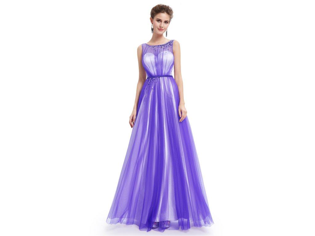 ee4142244b51 Fialové bílé dlouhé společenské luxusní plesové šaty na ples vel. 46 ...