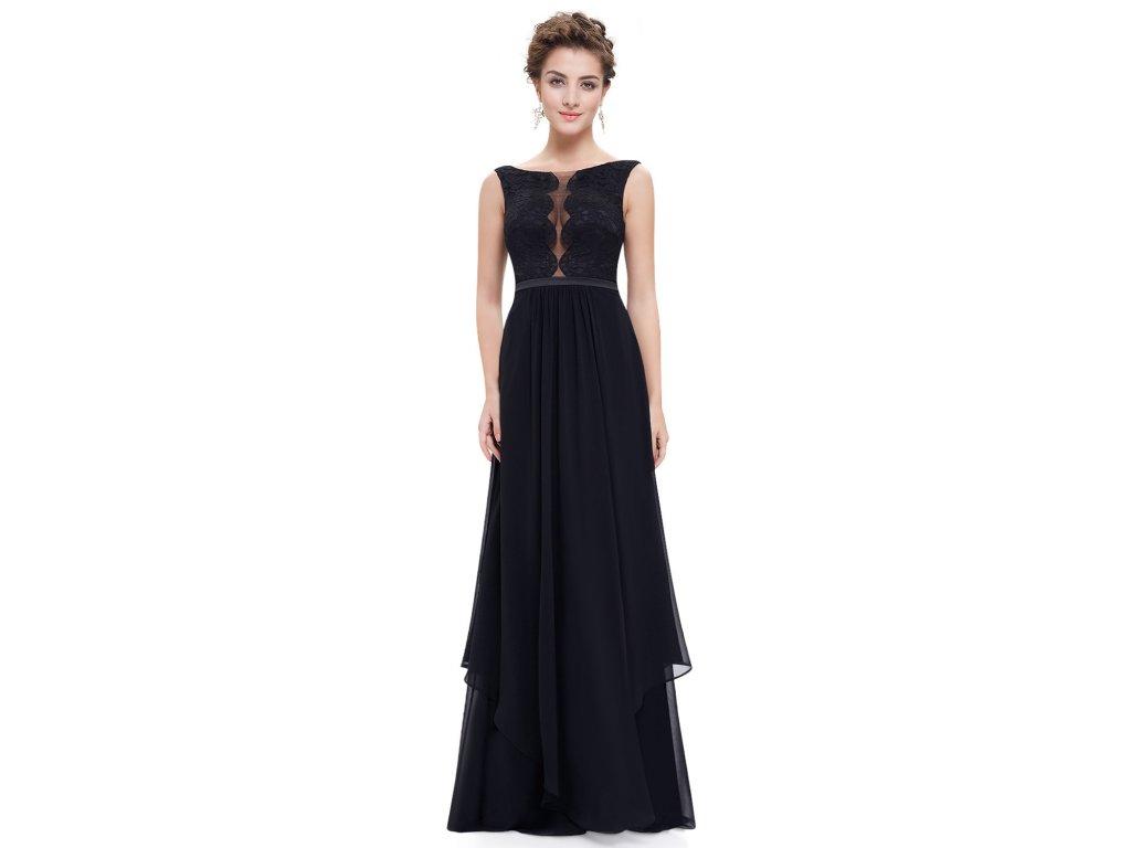 ec303c2b3c99 Černé dlouhé společenské šaty se sexy výstřihem a vrstvenou sukní 46 ...