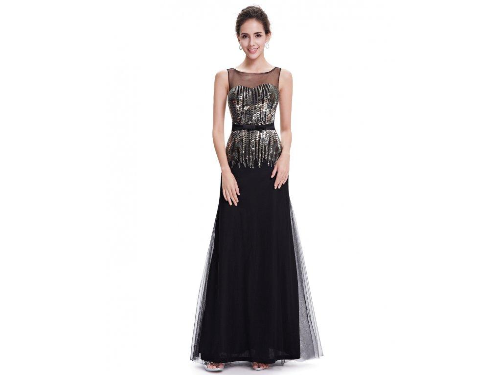 4226a768ee5 Černé dlouhé plesové večerní pouzdrové šaty s flitry a širokými ...